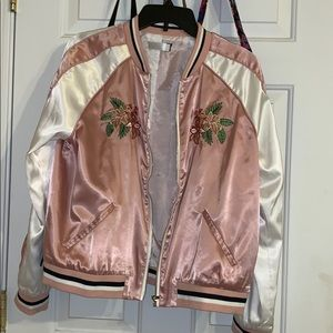 Sweaters - Pink Floral Bomber Jacket